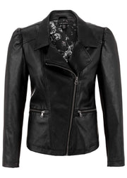Puff Sleeve Faux Leather Moto Jacket