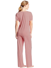 Lace Trim Pajama Set Rose