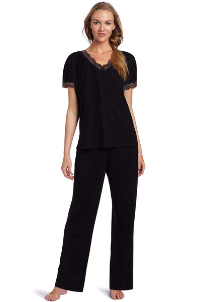 Lace Trim Pajama Set Black