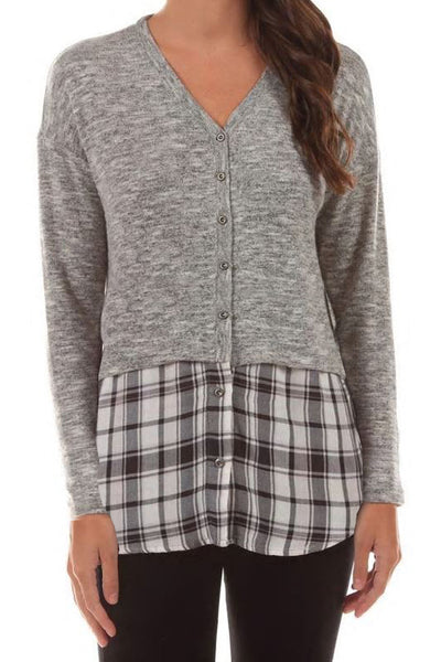 Cardigan Plaid Sweater Combo - Final Sale