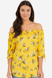 Yellow Floral On/Off Blouse - Final Sale