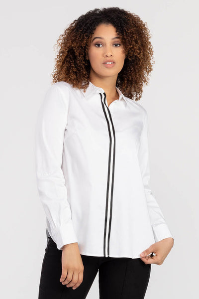 Tape Trim Button Up Shirt