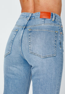 Close up backside - straight jeans with slit.
