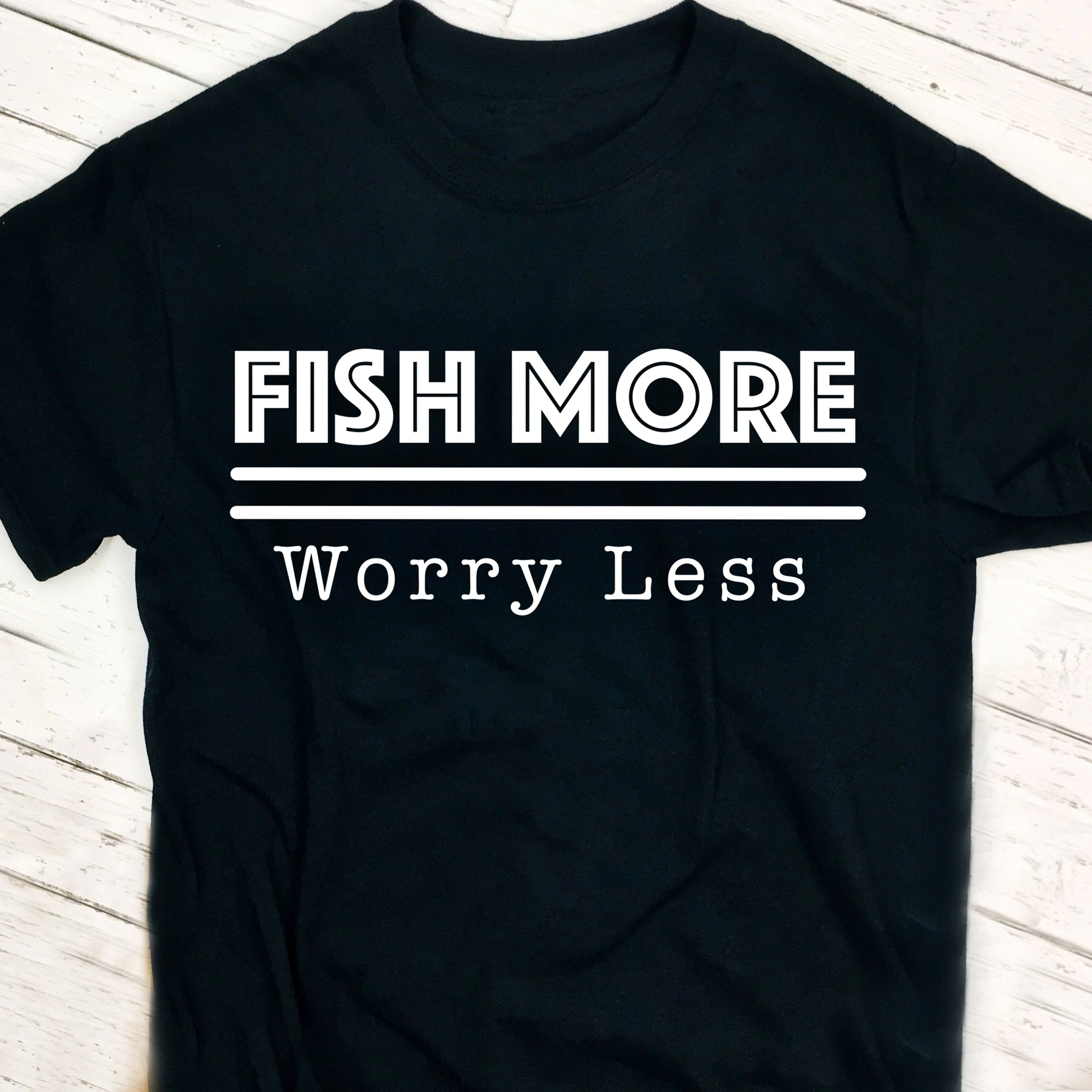 Fishing Quote SVG File, Fish More Worry Less SVG Cut File, Fishing Saying SVG File, Fisherman SVG, Fishing Shirt SVG