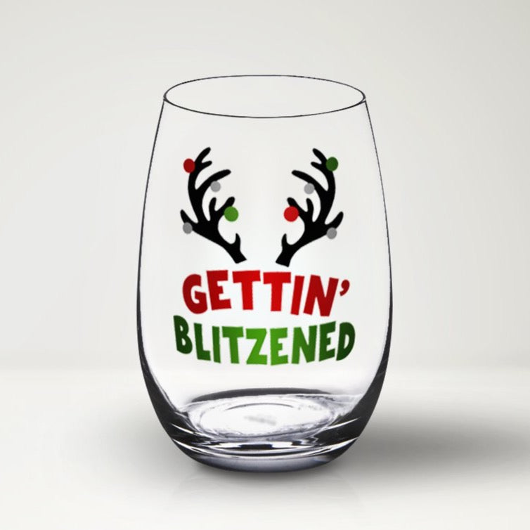 Gettin' Blitzened SVG, Funny Christmas Wine Glass SVG, Christmas Wine Glass SVG File, Funny Christmas SVG for Wine Glass, Svg Files for Cricut
