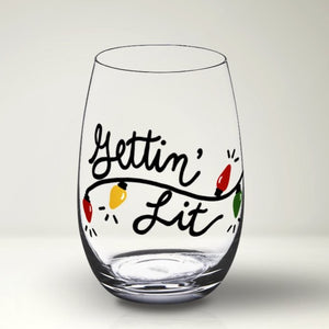 Gettin' Lit SVG File, Funny Christmas Wine Glass SVG, Funny Christmas SVG Cut File, Svg Files for Cricut