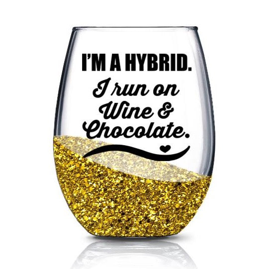 Funny I'm a Hybrid Wine Glass SVG File, Funny Wine Glass Saying SVG, Wine Glass Decal SVG Cut File,  Wine Glass Svg Files for Cricut