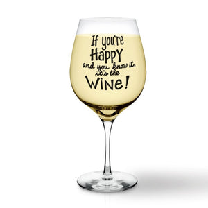 Funny Wine Glass SVG File, If You're Happy and You Know it It's the Wine SVG, Wine Glass Labels, Funny Wine Glass Decals