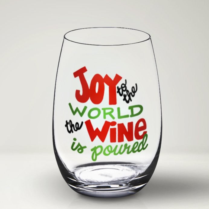 Joy to the World Christmas Wine Glass SVG, Funny Christmas Wine Glass SVG, Vinyl Sayings for Wine Glasses, Funny Christmas Wine Quote