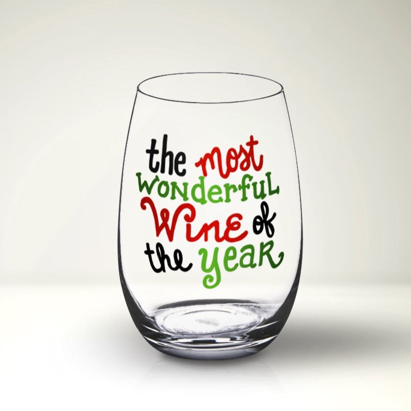 Funny Christmas Wine Glass SVG File, Most Wonderful Wine of the Year SVG, Christmas Wine Glass Cut File, Christmas Wine Glass Decal
