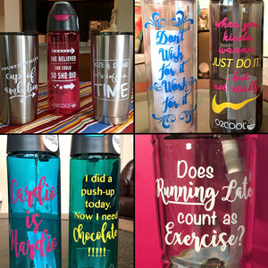 12 SVG Sayings for Water Bottles, Coffee Tumblers, or mugs. Use with Cricut or Cutting Machines. Water Bottle Labels, Custom SVG