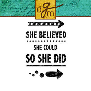 Funny Water Bottle SVG File, Water Bottle Decal SVG Cut File,  Car Decal SVG File,  Motivational SVG File Saying, She Believed She Could So She Did, Svg