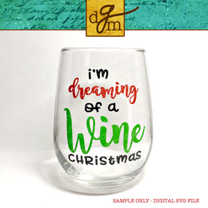 Christmas Wine Glass SVG Bundle, Christmas Wine Glass Decals, Christmas SVG Files