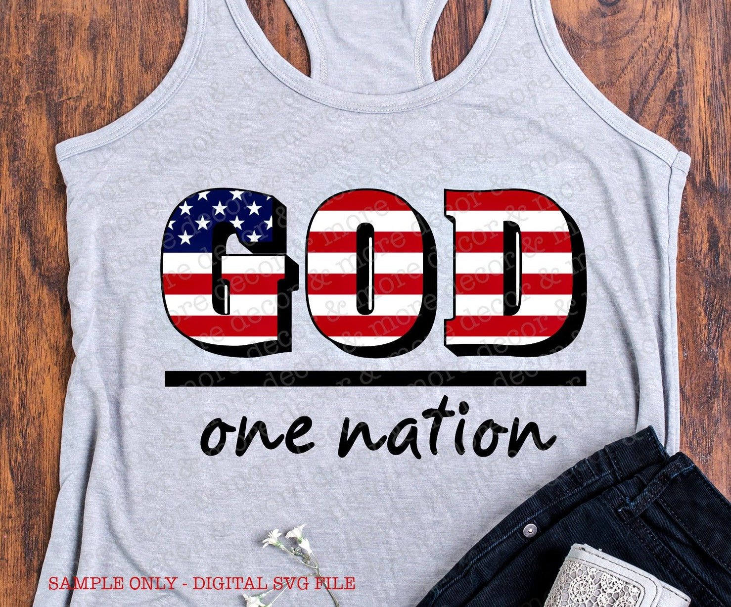 One Nation Under God SVG File, 4th of July SVG, July Fourth SVG, Patriotic Svg, Religious Svg, Svg Files for Cricut, Fourth of July Decal