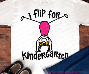 KINDERGARTEN GIRL SVG, SVG File Back to School, First Day of Kindergarten SVG, Svg Files for Cricut, Svg, Svg Flip for Kindergarten, Svg Cut File