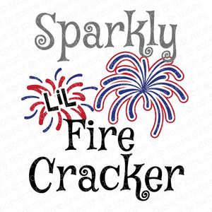 Sparkly Little Firecracker SVG File, Cute July 4th SVG File, Girls 4th of July SVG, Fireworks SVG Cut File
