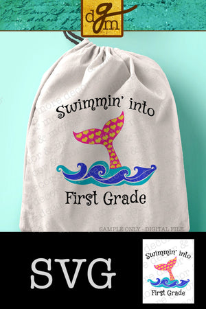 FIRST GRADE SVG, First Grade Back to School SVG Cut File, First Day of First Grade SVG for Girl, First Grade Mermaid SVG Cut File