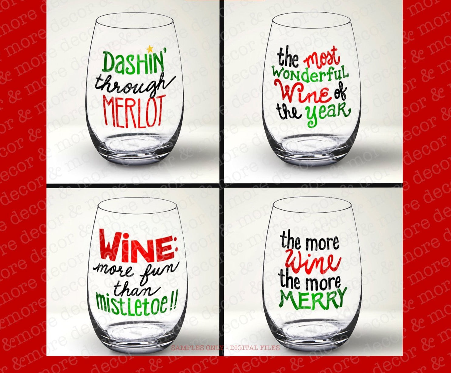 Funny Christmas Wine Glass SVG Bundle, Christmas Wine Glass SVG File, Christmas SVG Files for Cricut