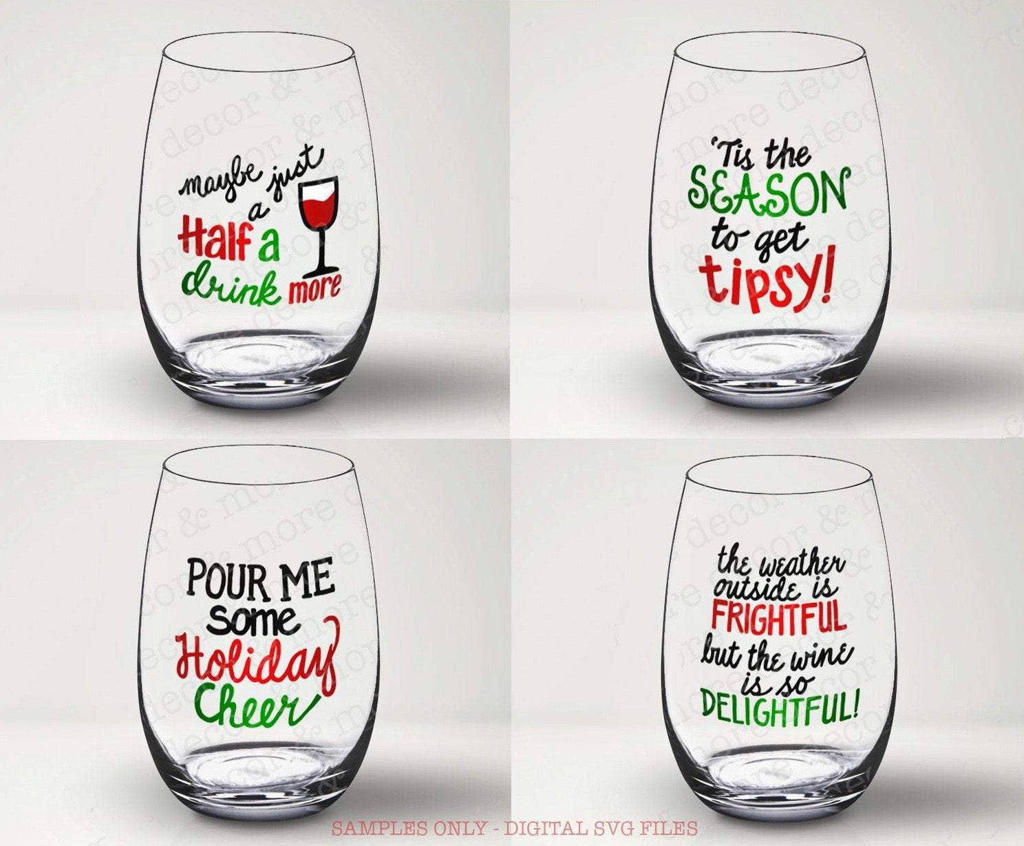 Christmas Wine Glass SVG Bundle, Funny Christmas Wine Glass SVG Files, Funny Christmas Wine Glass Decal SVG FILES