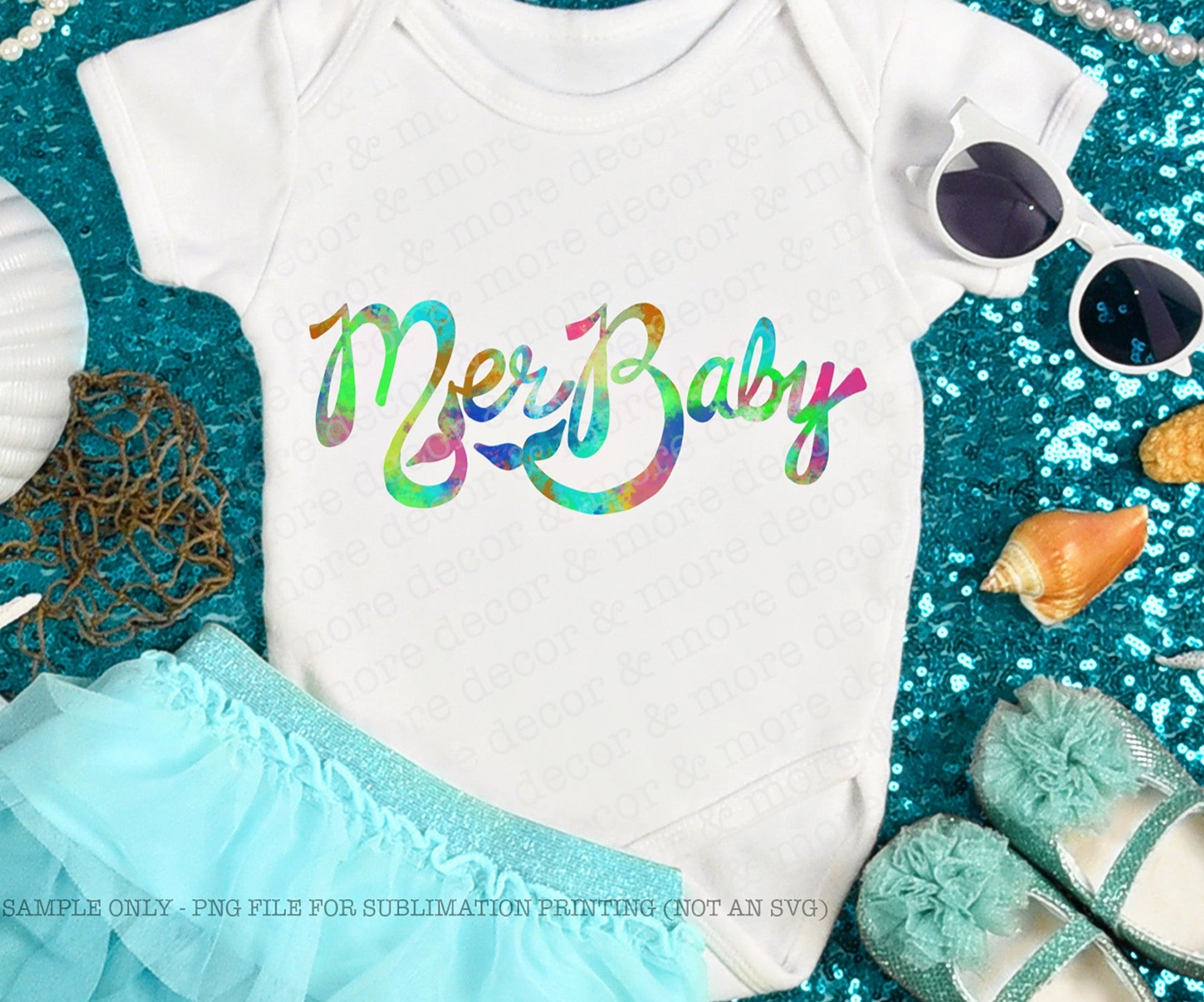 Baby Bodysuit Sublimation Design, DIGITAL SUBLIMATION DOWNLOAD, Mermaid Baby Sublimation Download, Summer Mermaid Baby Png