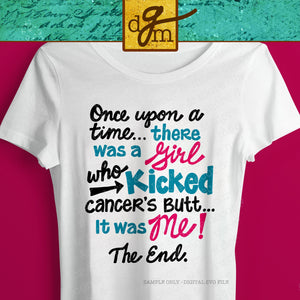 Cancer Survivor Shirt SVG File, Girl Who Kicked Cancer's Butt SVG, Cancer Sucks SVG Cut File, Cancer Saying Svg Files for Cricut/Silhouette
