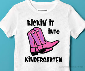 Cute Kindergarten Girl SVG File, First Day of School Shirt SVG, First Day of Kindergarten Saying SVG Files for Cricut, Kindergarten Cowgirl Svg