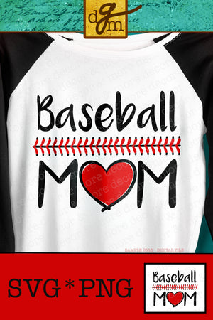BASEBALL MOM SVG, Baseball Mom with Baseball Stitches Svg, Vinyl Sayings Baseball Mom, Baseball Mom Shirt Svg Files for Cricut, Baseball Svg