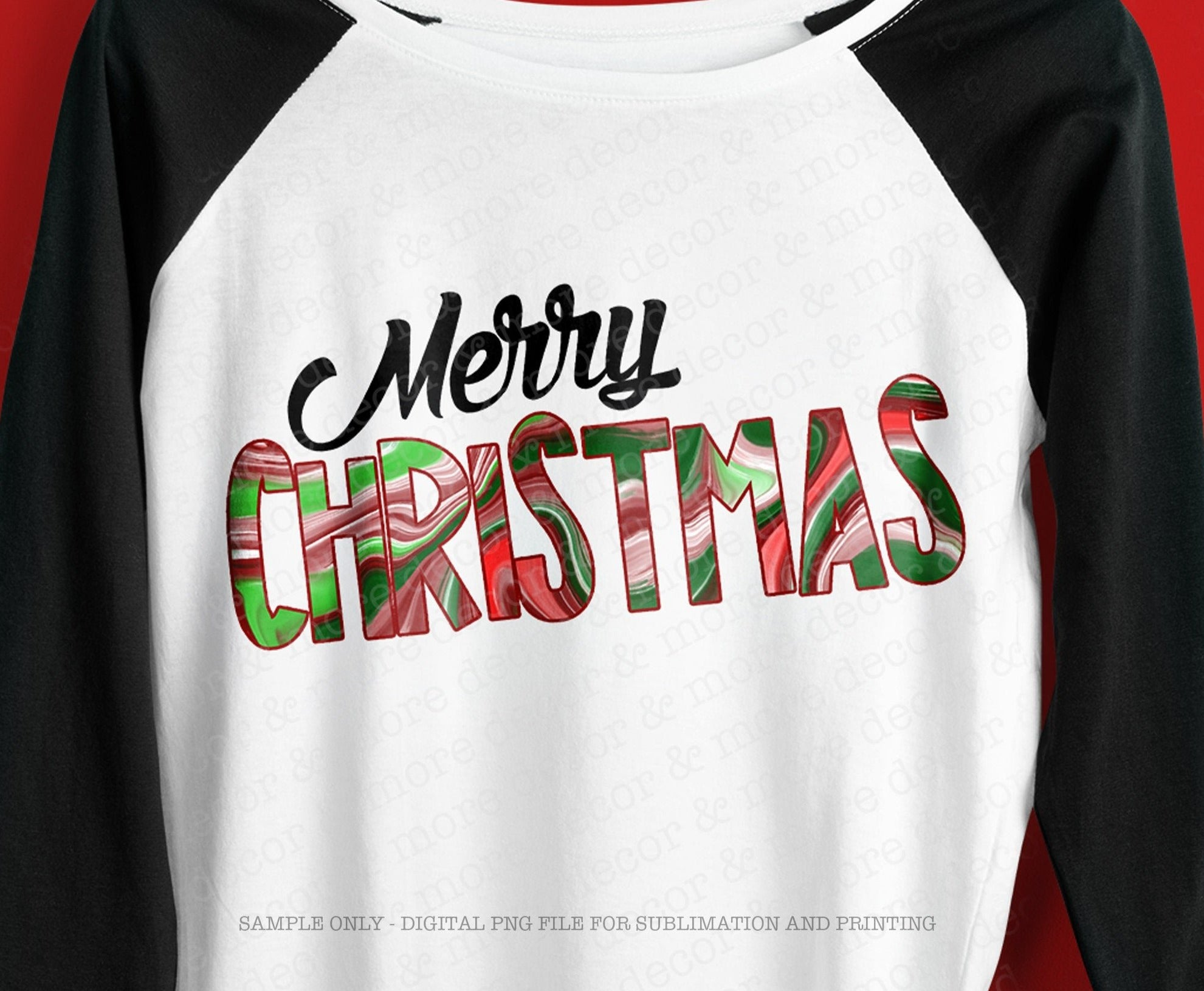 SUBLIMATION DIGITAL DOWNLOAD Merry Christmas, Swirly Red and Green Christmas Sublimation Design, Sublimation Png Design for Christmas Shirt
