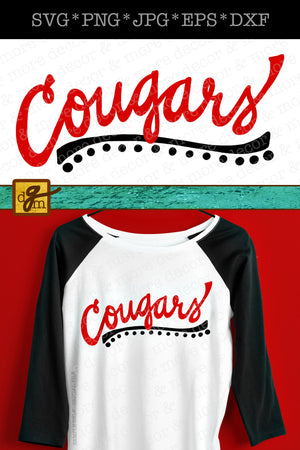 Cougars Team Sports SVG File, Cougar Mom Shirt SVG, Cougars SVG, Team Pride Svg Files for Cricut, Cougar Football Svg, Cougar Baseball Svg