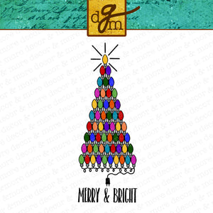 Christmas Tree made of Christmas Lights SVG File, Merry and Bright SVG, Christmas Saying SVG Cut File, Christmas Tree Svg Files for Cricut
