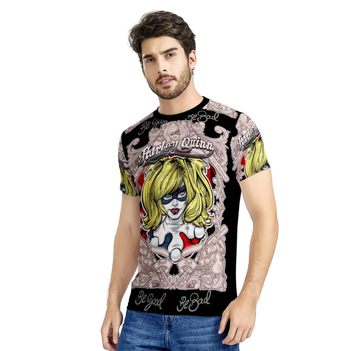 -- HA-013 -- All-Over Print Black T-Shirt --