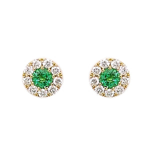18ct Yellow Gold Emerald & Diamond Stud Earrings