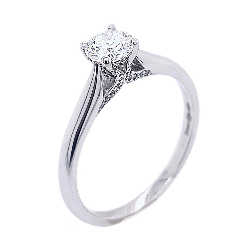 Platinum pavé detail 4 x claw Brilliant-cut Diamond Ring - Andrew Scott