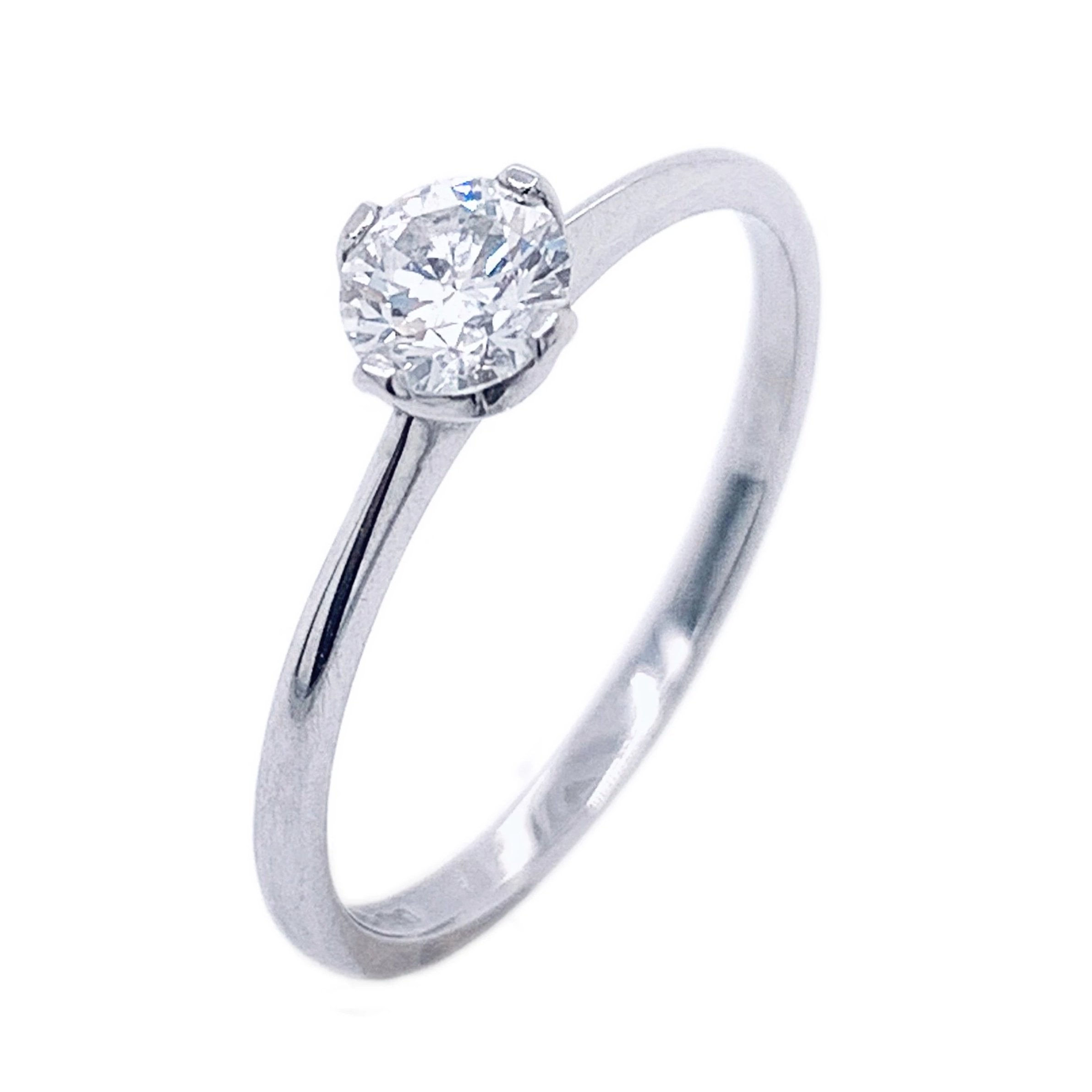 Platinum Four Claw Lotus Brilliant Cut Diamond Ring - Andrew Scott