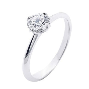 Platinum Four Claw Lotus Brilliant Cut Diamond Ring