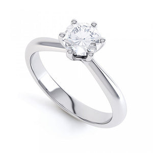Platinum 6 Claw Diamond Ring