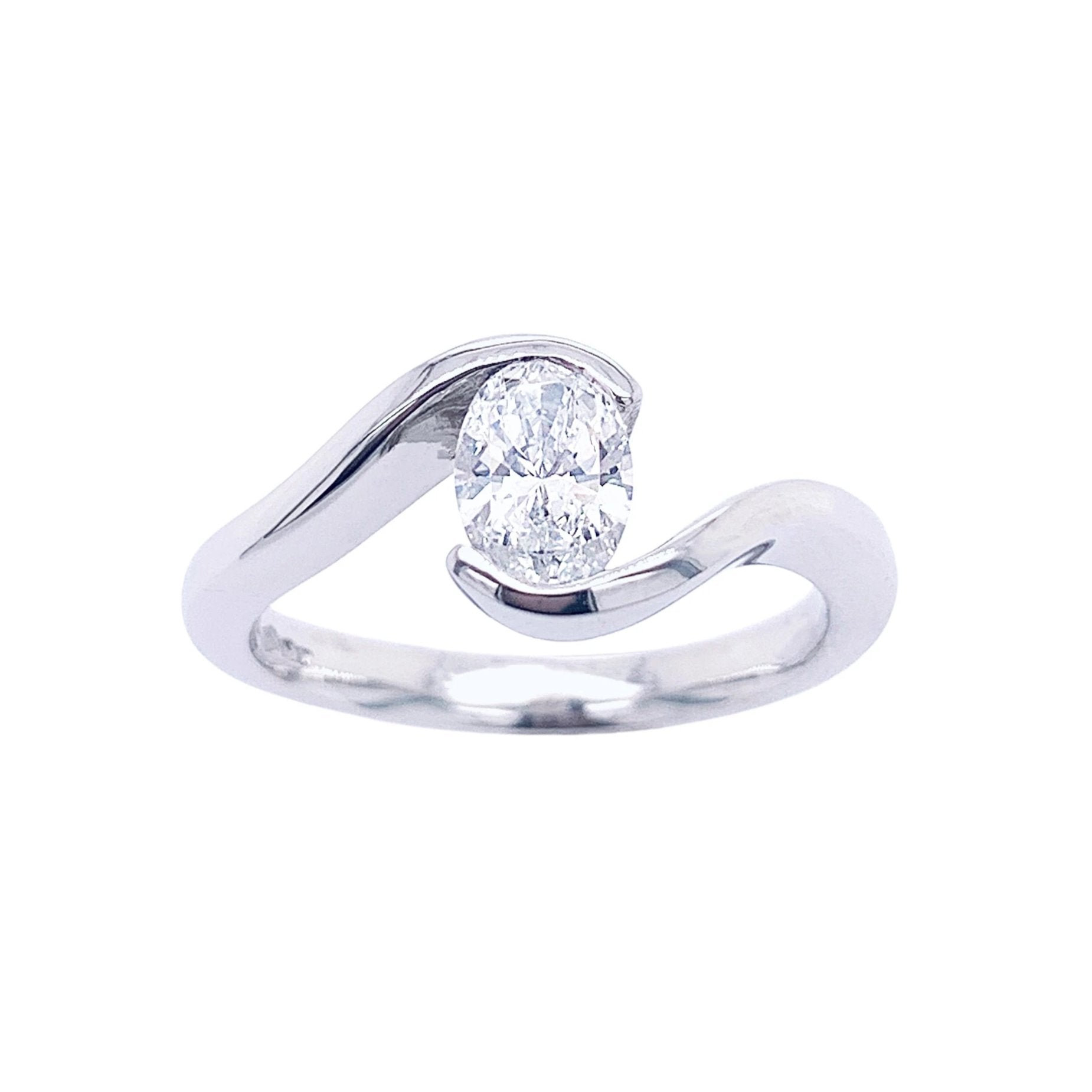 Platinum Wrap-around Oval-cut Diamond Ring - Andrew Scott