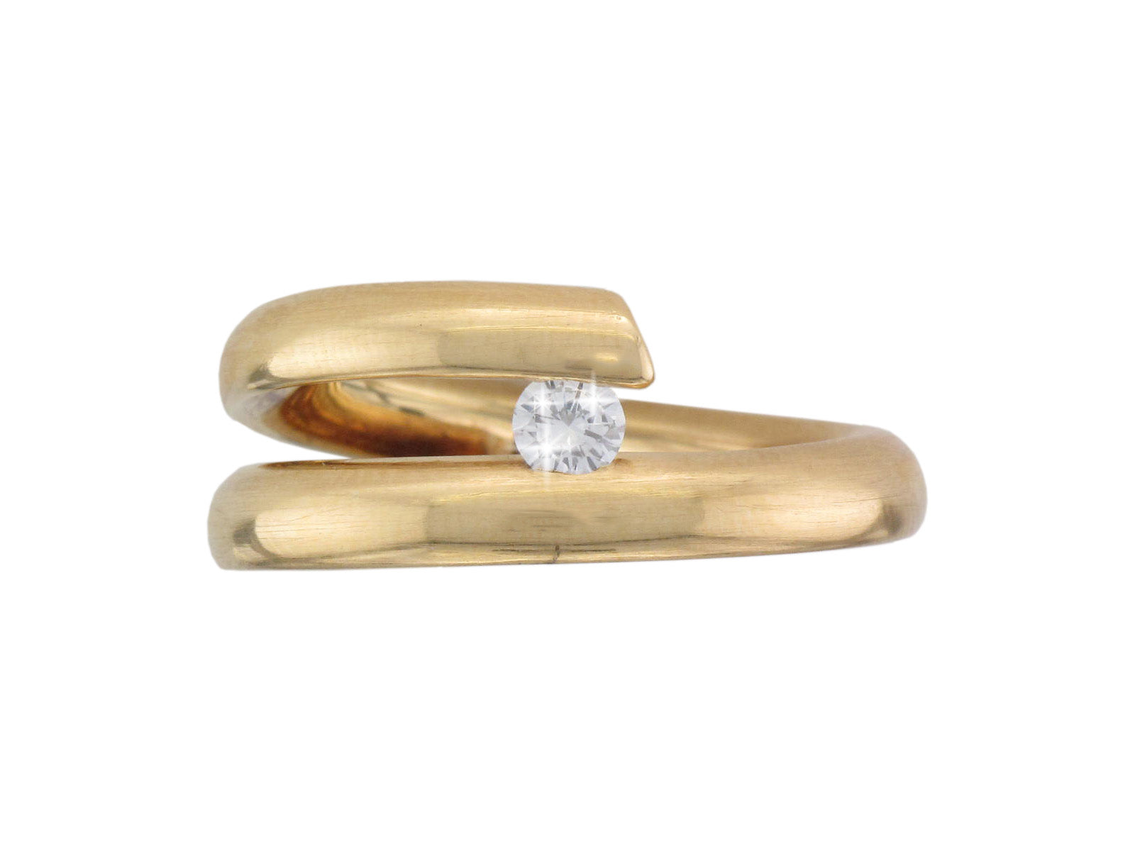 18ct Yellow Gold Satin Spiral Tension-set Diamond Ring - Andrew Scott