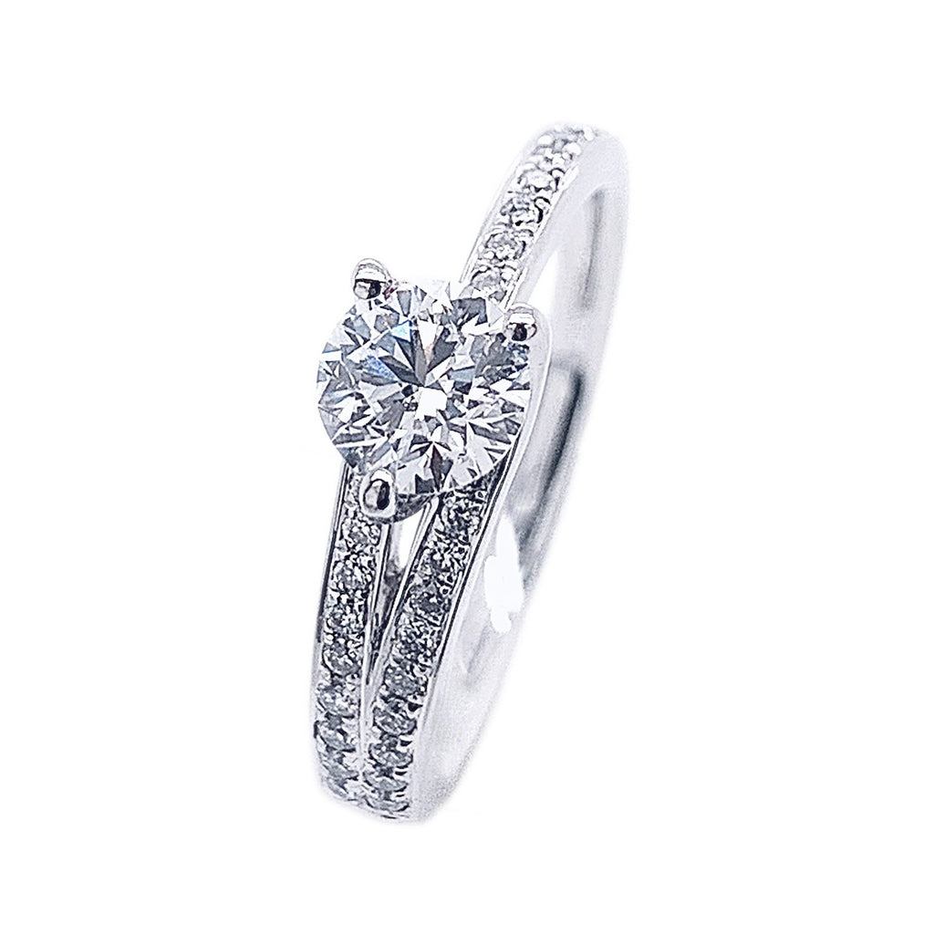 Platinum Diamond Asymmetrical Split Shoulder Ring