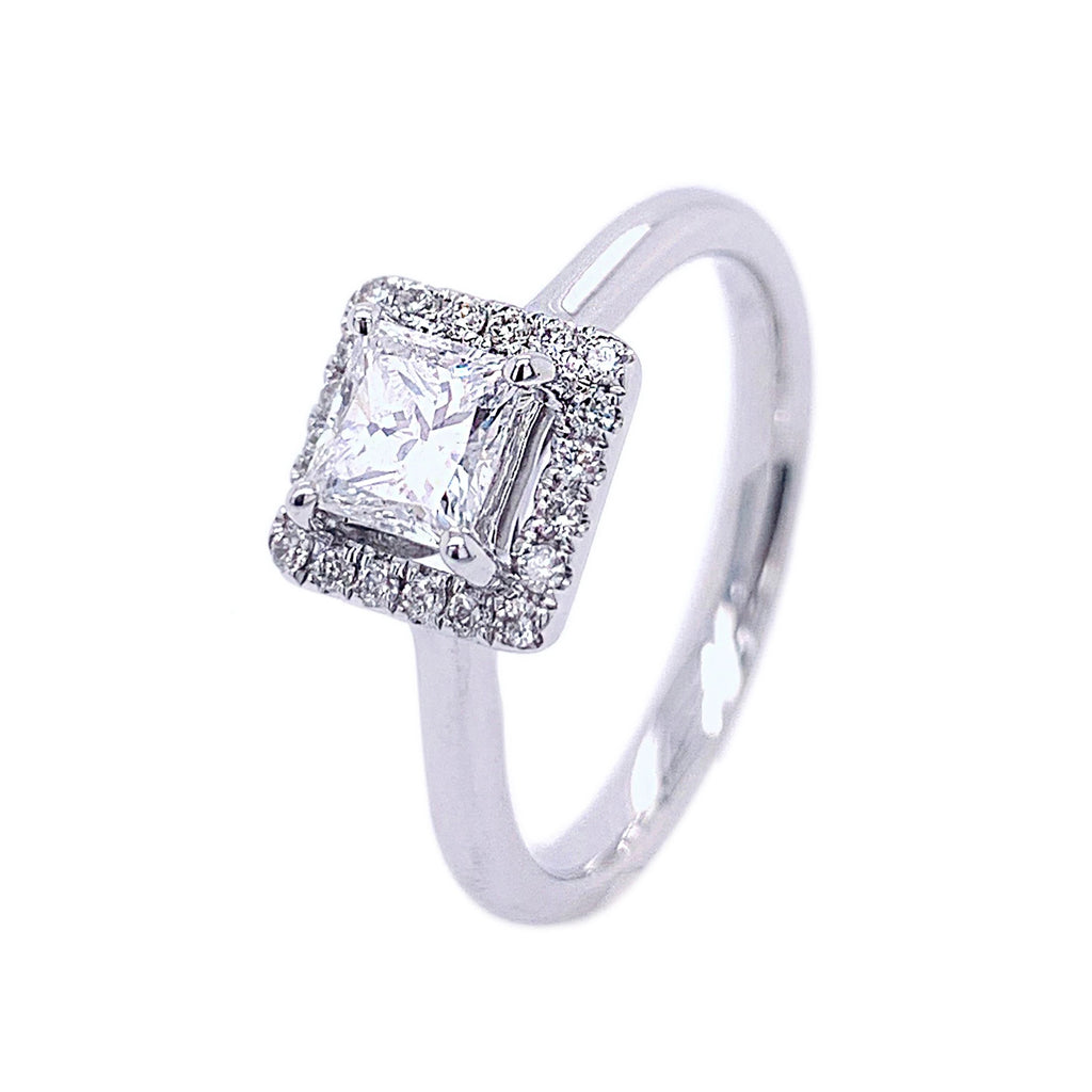 18ct White Gold Square Halo Princess-cut Diamond Ring - Andrew Scott