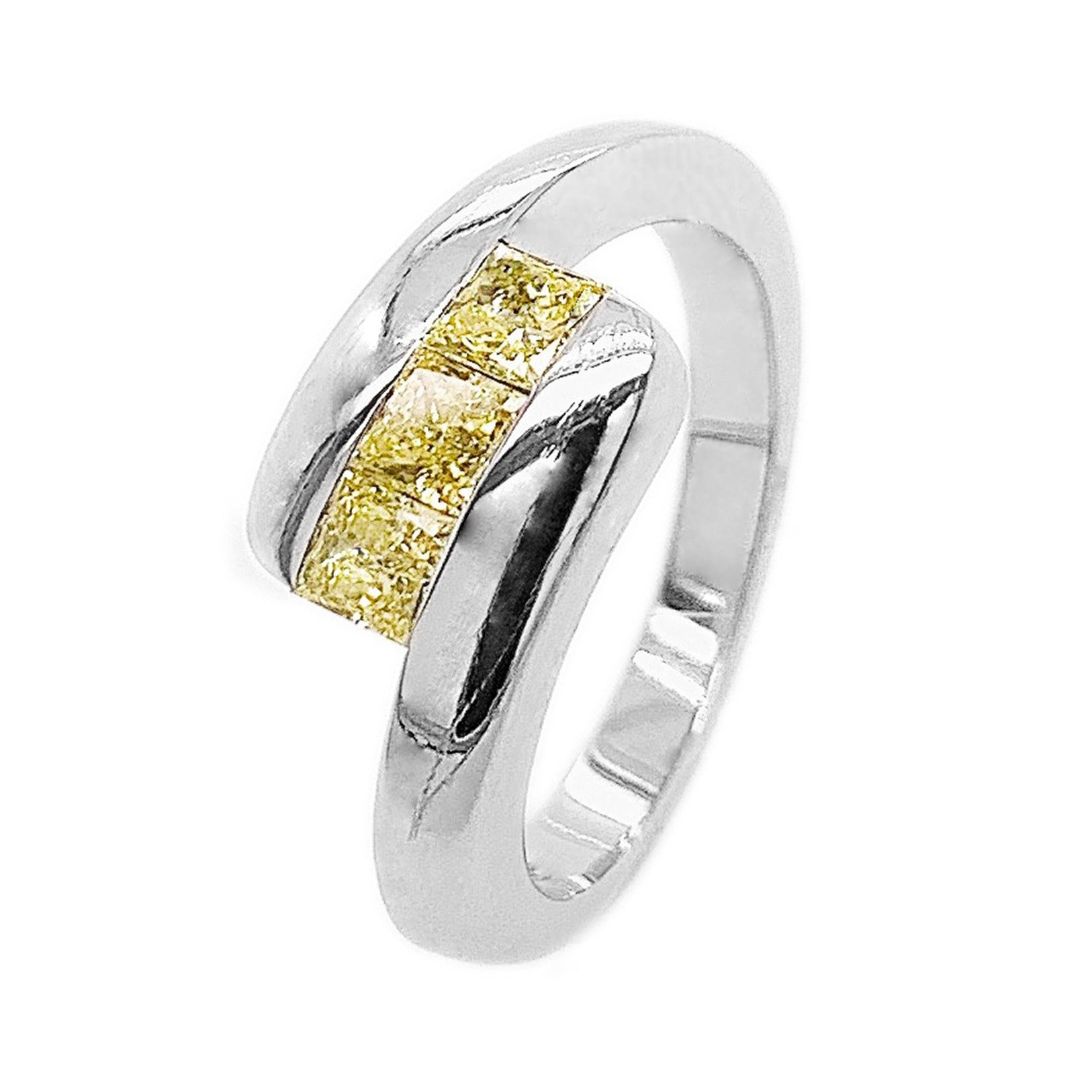 Platinum with Three Princess-cut Natural Yellow Diamonds Ring