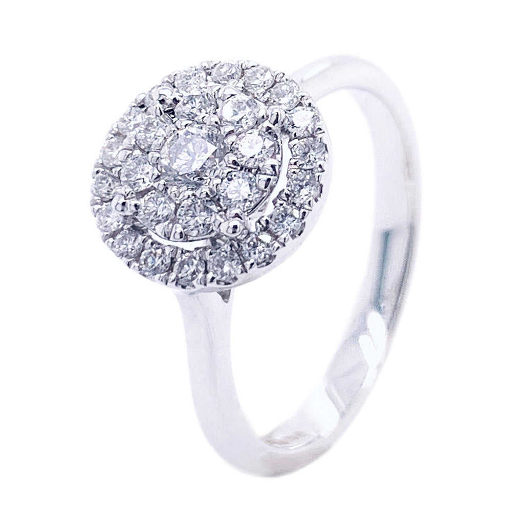 18ct White Gold Pave Top Brilliant Cut Diamond Ring