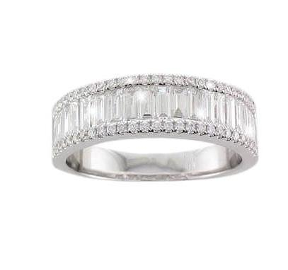 18ct White Gold Half-set Baguette & Brilliant-cut Diamond Ring - Andrew Scott