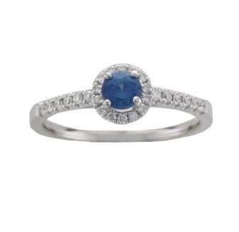 Platinum Claw-set Round Sapphire 0.32ct with Pave-set Diamond Surround and Shoulders Ring - Andrew Scott