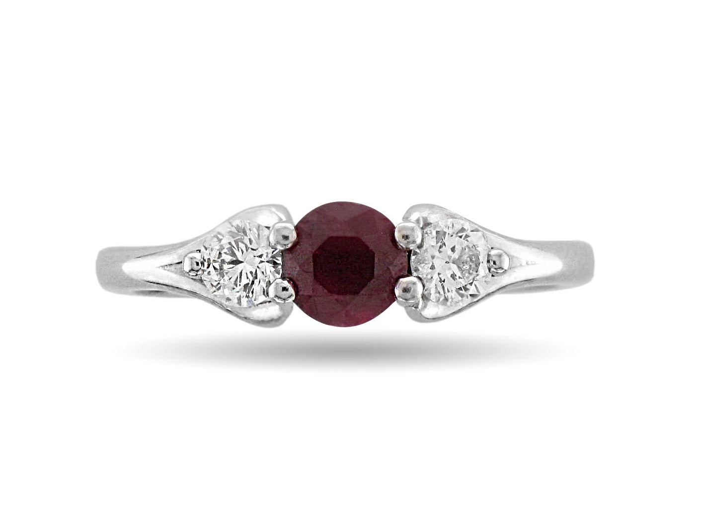 Platinum Ruby & Diamond Trilogy Ring