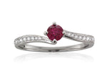 Platinum Ruby & Diamond Twist Ring
