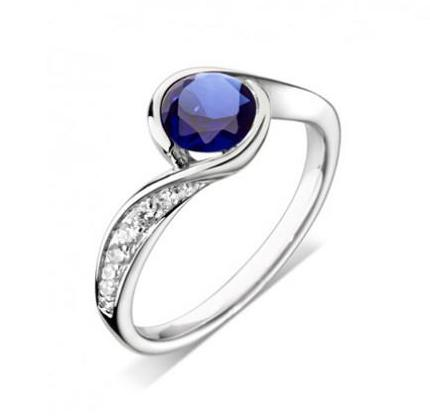 18ct White Gold Sapphire & Pave Diamond Ring - Andrew Scott