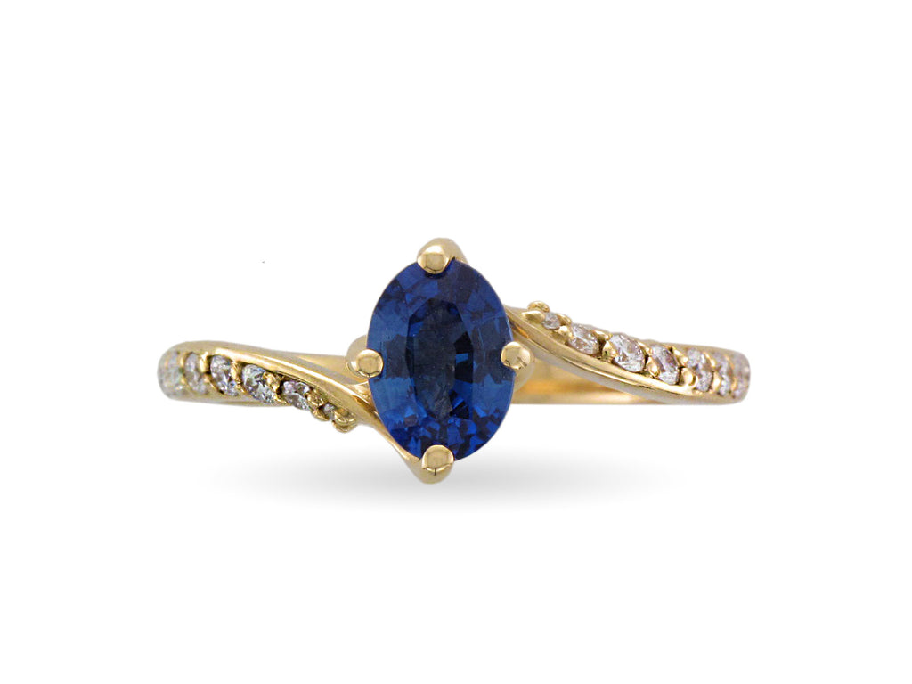 18ct Yellow Gold  Sapphire & Diamond Twist Ring - Andrew Scott