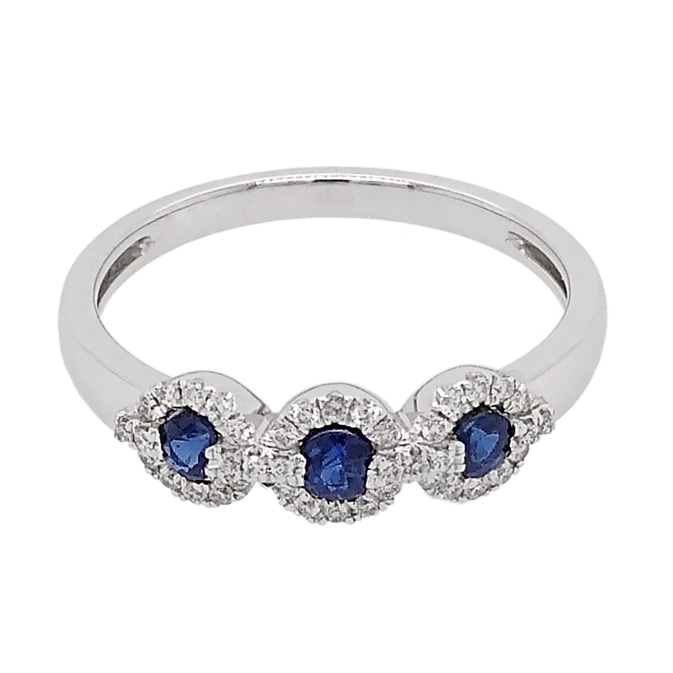 18ct White Gold Sapphire & Pave Diamond Trilogy Ring