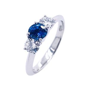 Platinum Sapphire & Brilliant-cut Diamond Trilogy Ring